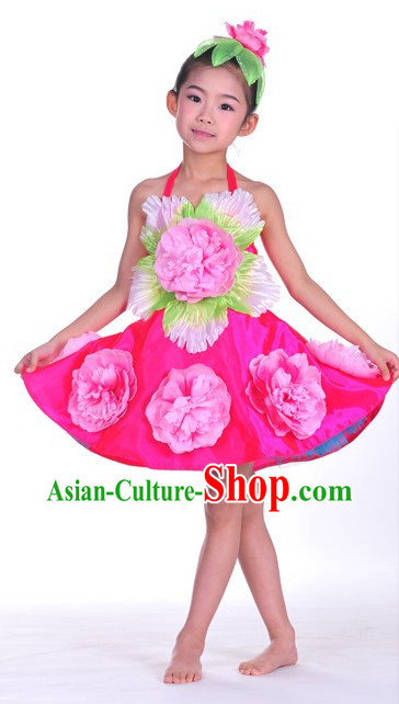 Oriental Clothing Chinese Children's Festival Penoy Dance Costumes and Peony Headdress Complete Set