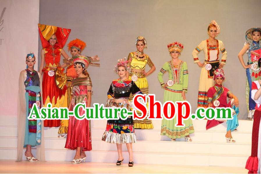 Oriental Clothing Chinese Ethnic Costumes and Headwear Ten Sets