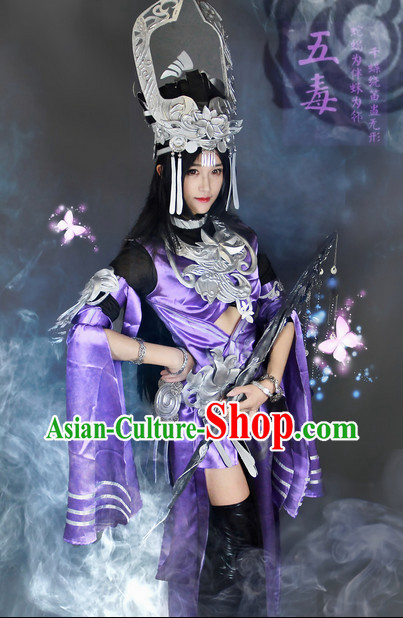 Top Oriental Clothing Chinese Cosplay Halloween Empress Costumes and Hat Complete Set