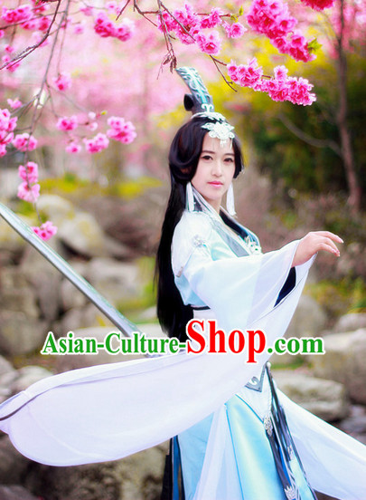 Top Oriental Clothing Chinese Cosplay Halloween Heronine Costumes and Headwear Complete Set