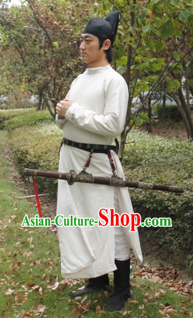Asian Chinese Tang Dynasty Scholar Plus Size Custom Made Costumes and Hat for Men