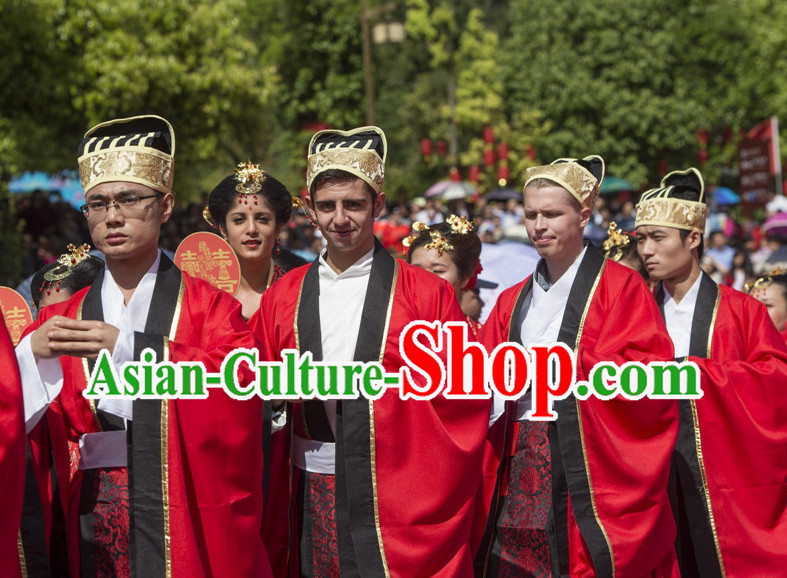 Asian Chinese Red Wedding Custom Made Dresses and Hat