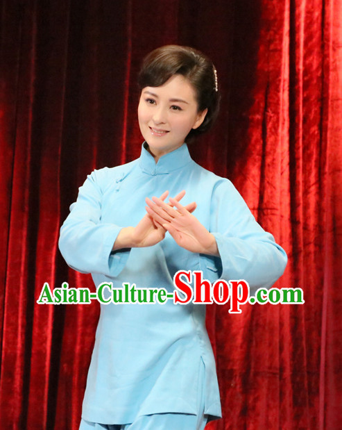 Asian Chinese Traditional Mandarin Blouse and Pants for Women