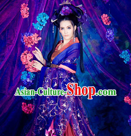 Asian Chinese Traditional Purple Empress Hanfu Clothes for Ladies