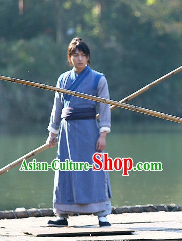 Chinese Superhero Yang Guo Kung Fu Master Costumes Complete Set for Men
