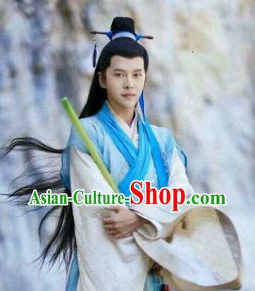 Chinese Traditional Hanfu Dress and Headbands Complete Set for Men