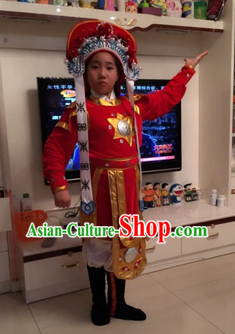 Chinese Hua Mudan Women Superhero Dance Costumes and Hat for Kids
