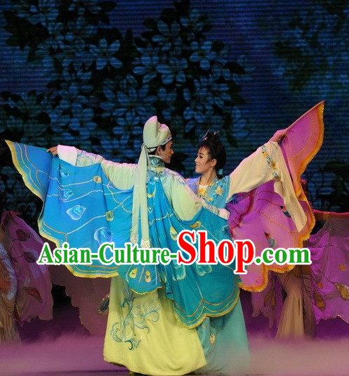 Chinese Butterfly Love Costumes and Hat Complete Set