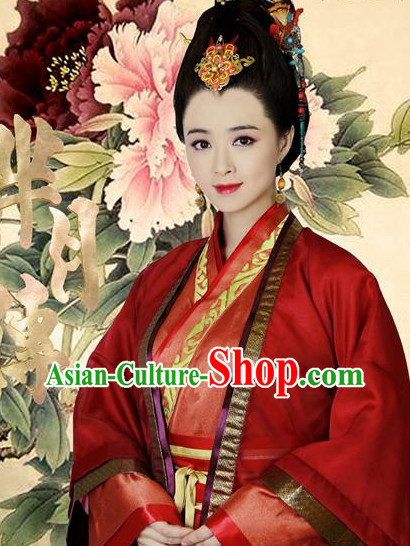Chinese Traditional Empress Costumes and Hair Accessories Complete Set for Women
