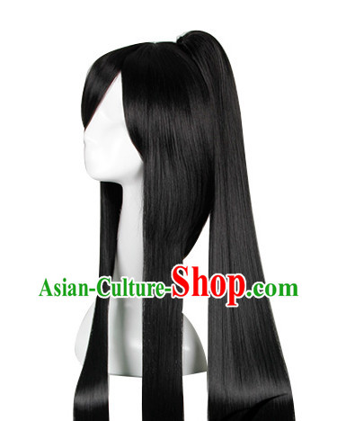 Pure Black Traditional Asian Long Wig
