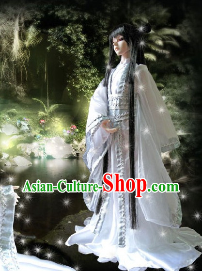 Asia Fashion Ancient China Culture Chinese White Hanfu Dress