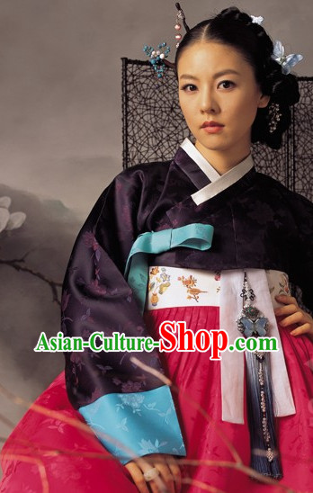 Traditional Korean Mother Custom Made Ladies Hanbok Costumes Complete Set