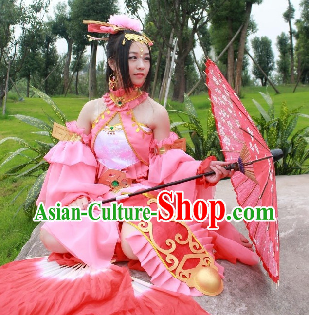 Asia Fashion Chinese Fan Dancing Costumes and Hair Accessories Complete Set