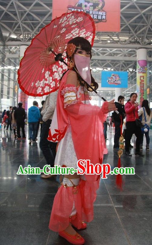 Asia Fashion Chinese Princess Cosplay Costumes and Hair Accessories Complete Set