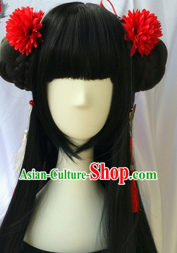 Asian Traditional Chinese Wigs Cosplay Wigs Ancient Costume Wigs Hair Piece for Ladies