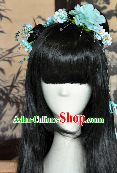 Asian Traditional Chinese Long Wig Ancient Costumes Wigs and Hair Decorations