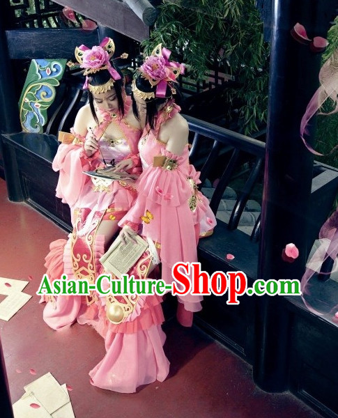 Asia Fashion Chinese Female Warrior Costumes and Hair Accessories Complete Set