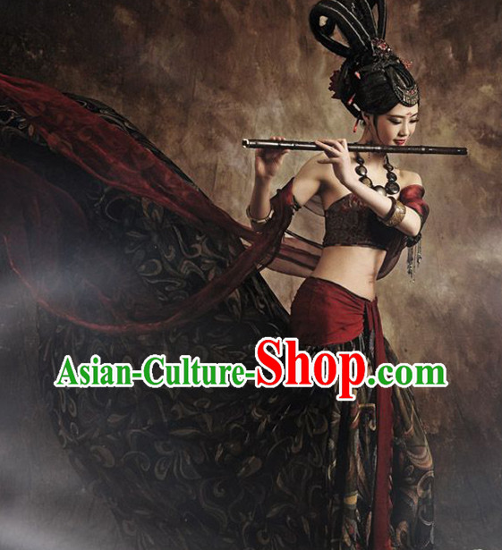 Asian Fashion Chinese Flying Fairy Feitian Dance Costumes and Hair Accessories