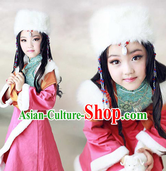 Chinese Tibetan Clothing and Hat for Women