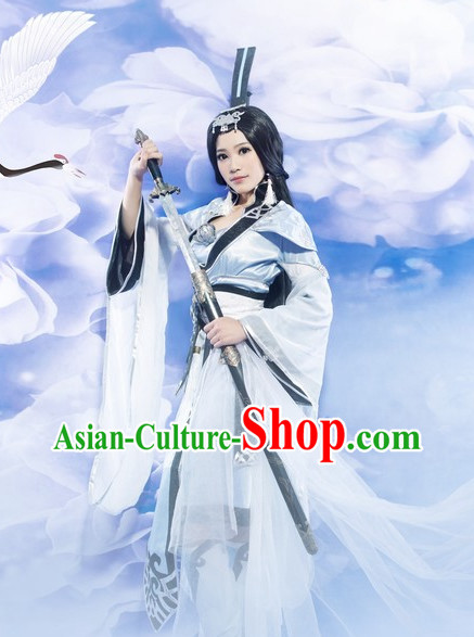 Asia Fashion Chinese Swordwoman Traditional Clothing and Hat