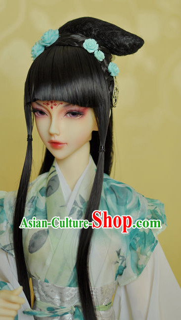 Chinese Traditional Black Long Wig and Hair Accessories Hairpin Hair Jewelry