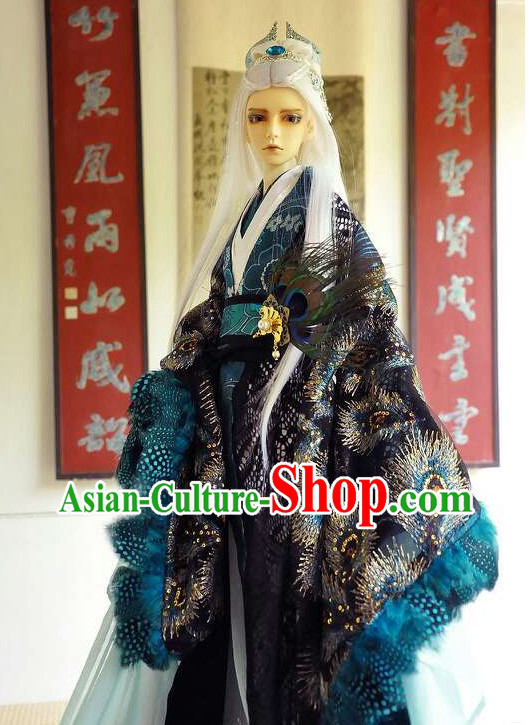 Chinese Traditional Prince Peacock Costumes and Hair Accessories
