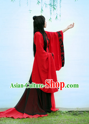 Asia Fashion Chinese Red Hanfu Costumes and Long Wig