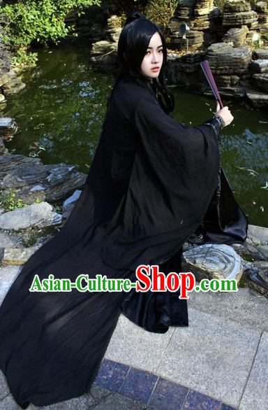 Asia Fashion Chinese Black Swordman Hanfu Costumes and Long Wig