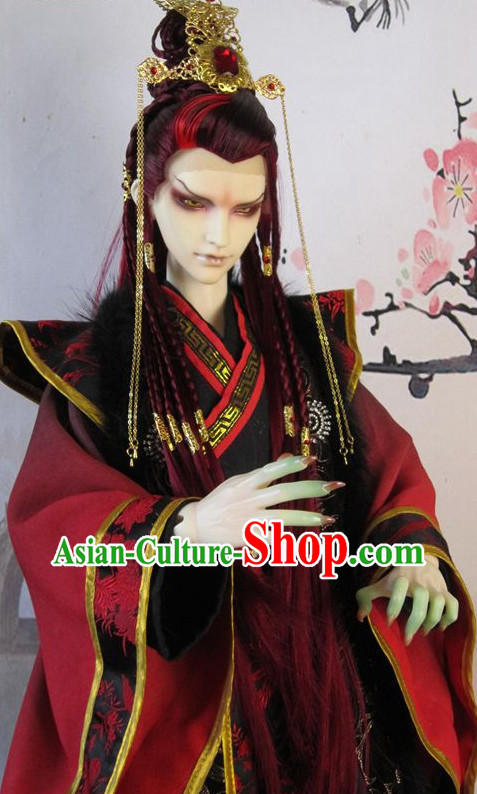 Chinese Traditional Prince Dress and Hair Accessories Complete Set for Men