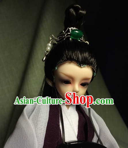Asia Fashion Chinese Prince Black Long Wig and Hair Accessories Headbands Hair Jewelry