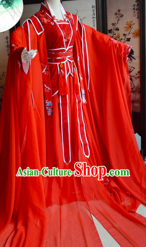 Chinese Traditional Red Wedding Dress Complete Set