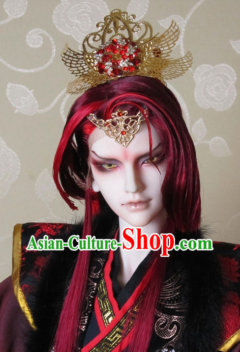 Chinese Traditional Emperor Costumes and Crown Complete Set for Men