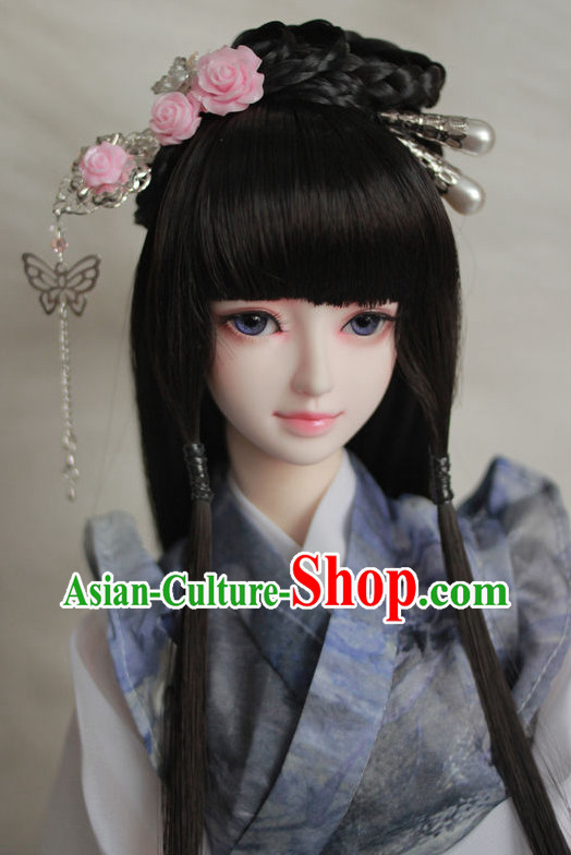 Traditional Chinese Lady Black Wig and Hair Jewelry