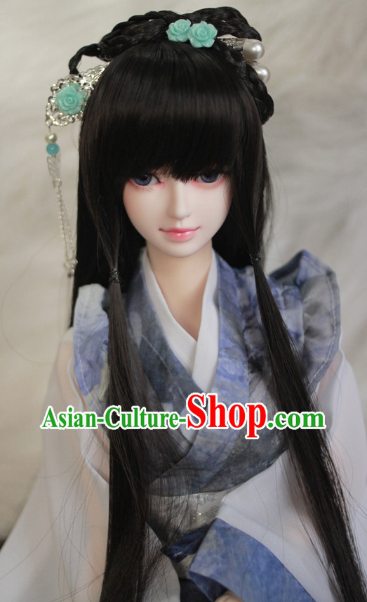 Traditional Chinese Beauty Black Wig and Hair Jewelry