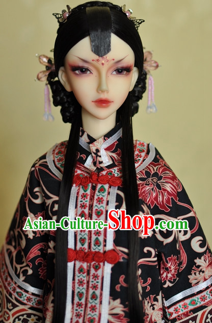 Traditional Chinese Wife Long Black Wig and Hair Accessories Headbands