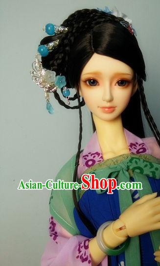 Traditional Chinese Costumes Black Wig and Hair Accessories Headbands