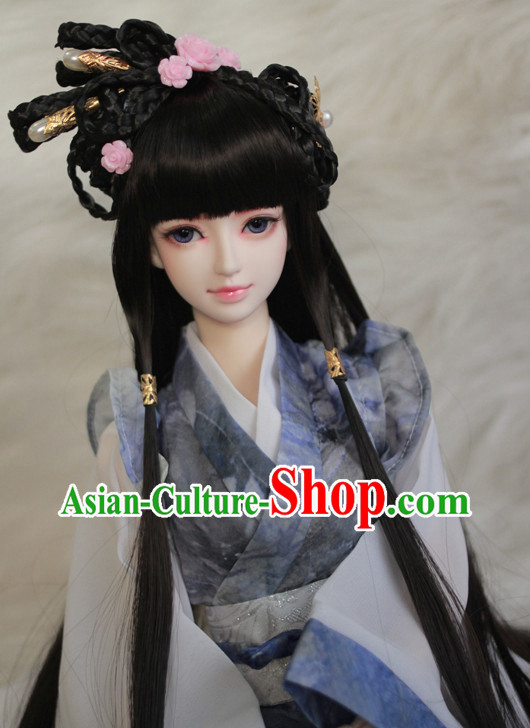 Traditional Chinese Princess Handmade Black Wig and Hair Jewelry