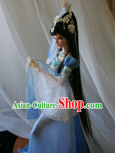 Chinese Traditional Dancer Costumes and Hairpieces Complete Set