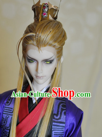 Chinese Traditional Prince Yellow Long Wig for Men