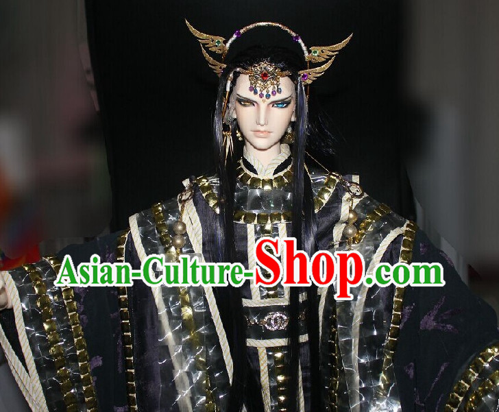 Chinese Stage Prince Long Costumes and Hair Jewelry Complete Set