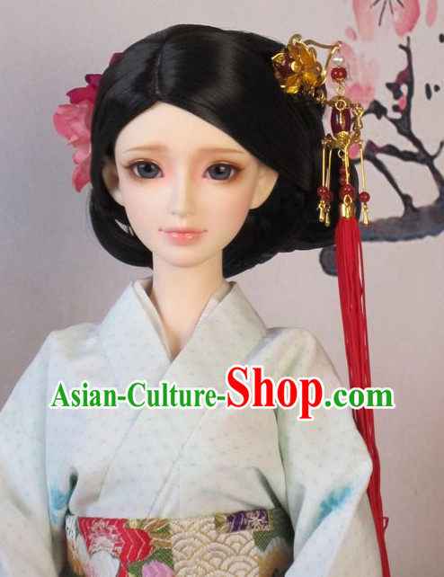 Chinese Handmade Long Black Wigs and Hairpins