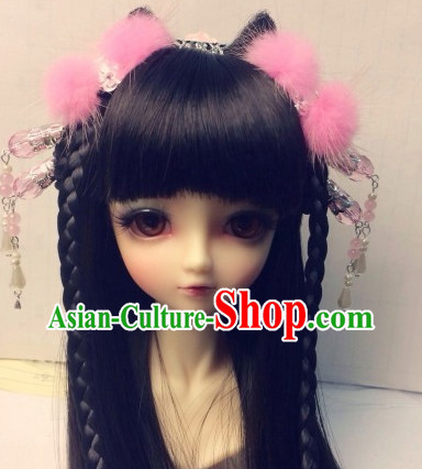 Asia Fashion Chinese Ancient Princess Long Balck Wig and Hair Accessories Headbands Hair Jewelry
