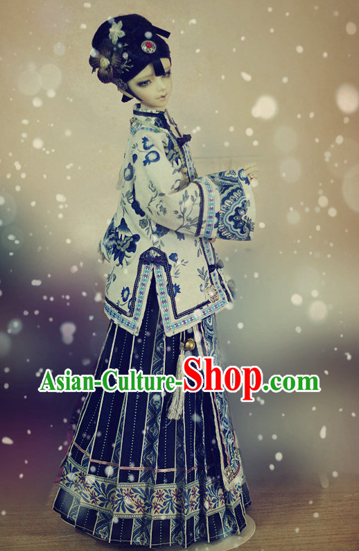 Chinese Stage Performance Royal Family Mandarin Blouse and Skirt Complete Set
