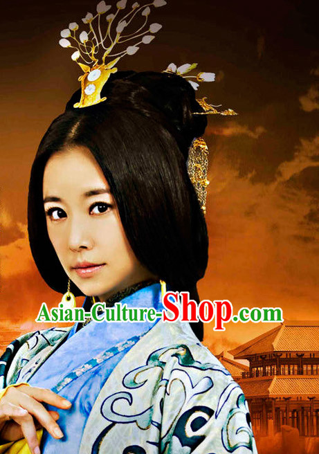 Handmade Chinese Empress Long Wig and Hair Accessories