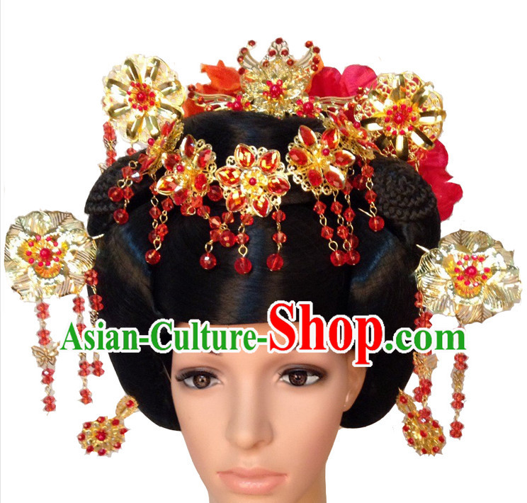 Handmade Chinese Ancient Style Empress Black Wig and Hair Jewelry