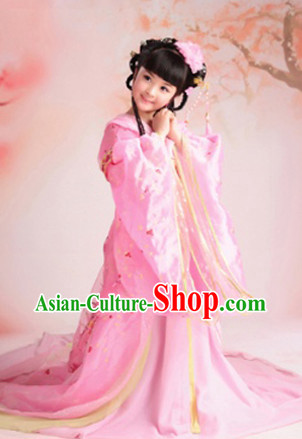 Chinese Ancient Peace Princess Clothing and Hair Jewelry Complete Set for Kids