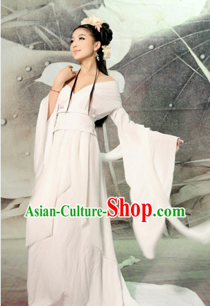 China Fashion Chinese Ancient Costume White Kimono Dress and Hair Jewelry Complete Set