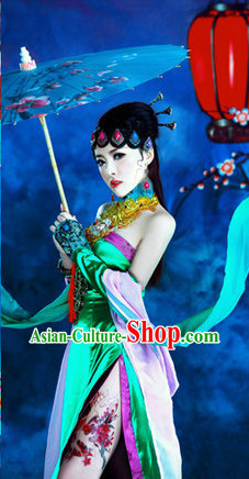Chinese Opera Stage Performance Sexy Costume and Hair Jewelry Complete Set