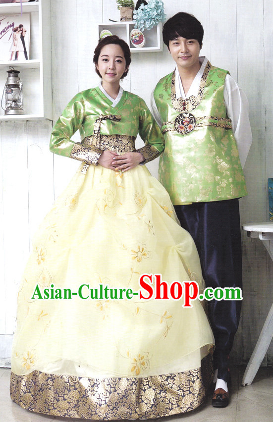 Korean Traditional Couple Hanbok Clothing 2 Complete Sets