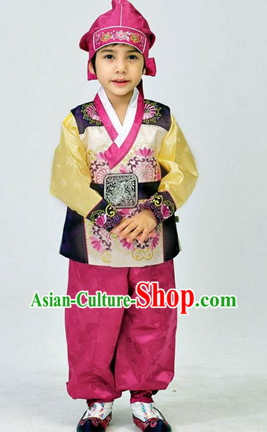 Korean Traditional Kids National Costumes Complete Set for Boys